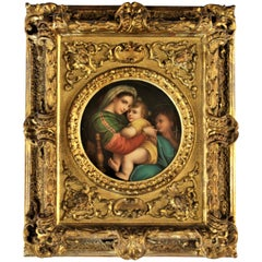 Antique Italian Hand Painted Religious Porcelain Panel with Carved Wood Frame