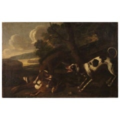 Antique Italian Hunting Scene Painting from the 18th Century
