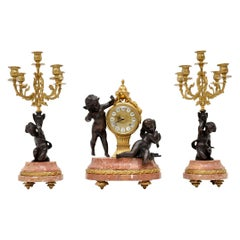 Antique Italian Imperial Mantel Clock and Candelabra