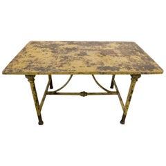Antique Italian Iron Garden Table with Yellow Patina, circa 1900