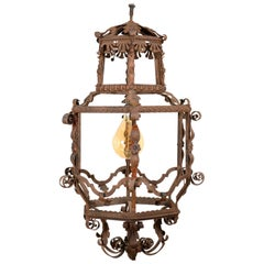 Antique Italian Iron Pendant Light, 19th Century