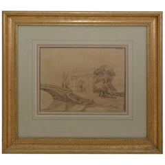 Antique Italian Landscape Drawing in Gilt Frame
