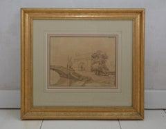 Antique Italian Landscape Drawing in Gilt Frame