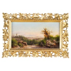 Antique Italian Landscape Oil Painting Guido Agostini 19thC