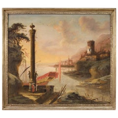 Antique Italian Landscape Painting from the 18th Century