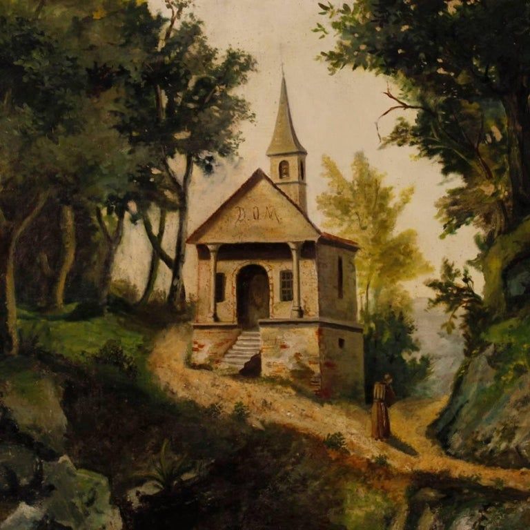 Great antique Italian painting from the second half of the 19th century. Oil painting on canvas depicting countryside landscape of romantic style. Framework that has undergone a conservative restoration and it has been backed again. Overall in good