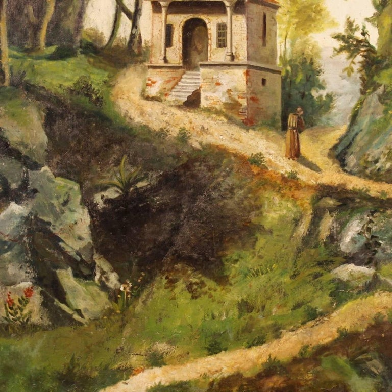 Romantic Antique Italian Landscape Painting Oil on Canvas from 19th Century For Sale