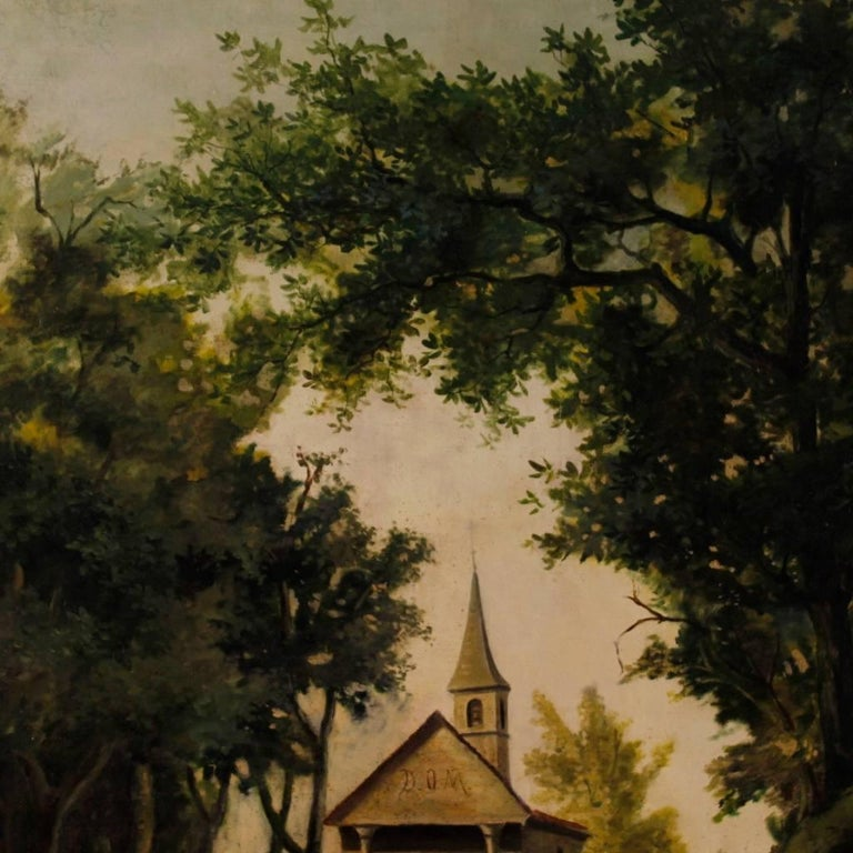Antique Italian Landscape Painting Oil on Canvas from 19th Century In Good Condition For Sale In Vicoforte, Piedmont