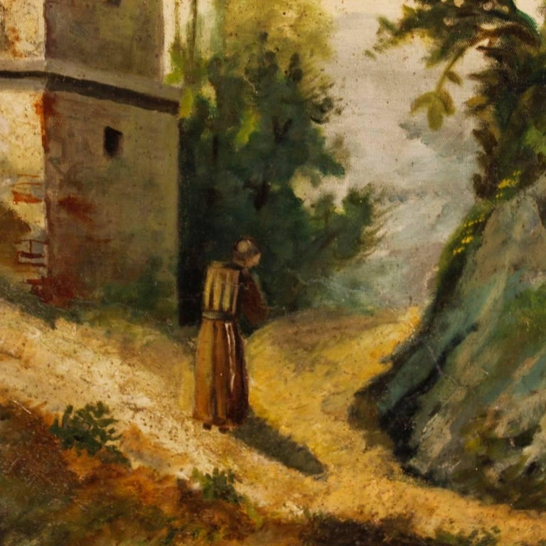 Late 19th Century Antique Italian Landscape Painting Oil on Canvas from 19th Century For Sale