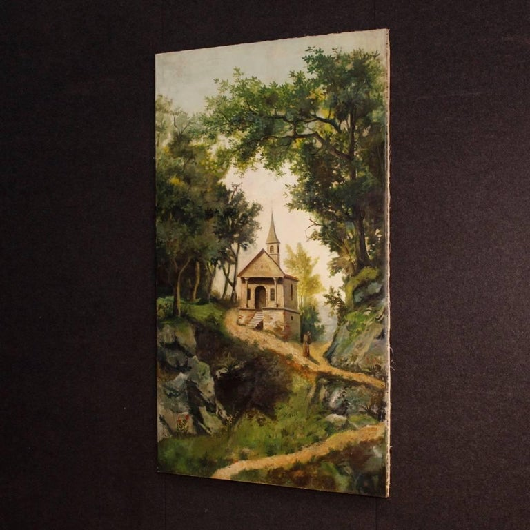 Antique Italian Landscape Painting Oil on Canvas from 19th Century For Sale 2