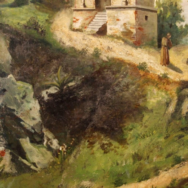 Antique Italian Landscape Painting Oil on Canvas from 19th Century For Sale 3