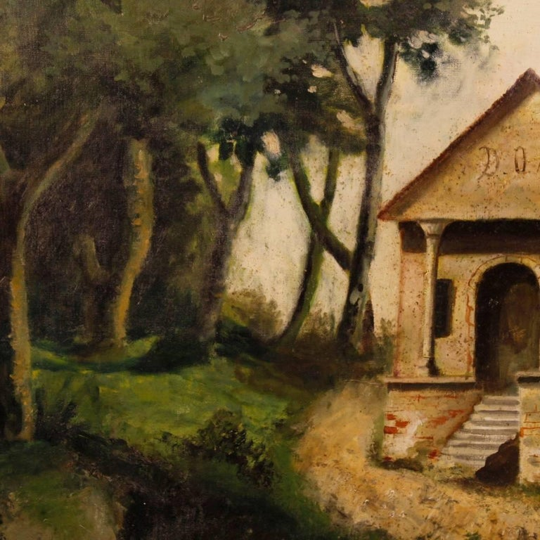 Antique Italian Landscape Painting Oil on Canvas from 19th Century For Sale 4