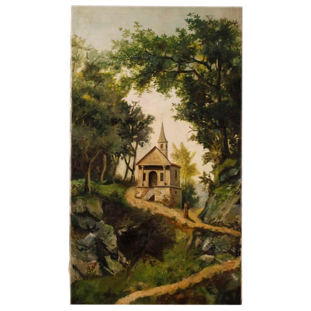 Antique Italian Landscape Painting Oil on Canvas from 19th Century
