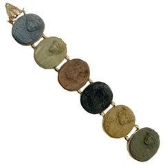 Antique Italian Lava Cameo Bracelet with Roman Gods
