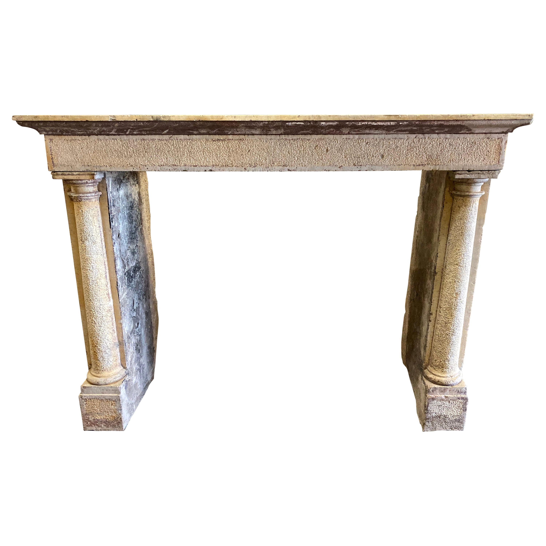 Antique Italian Limestone Mantel