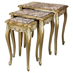 Antique Italian Louis XV Giltwood Marble Top Nesting Tables