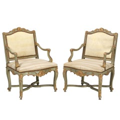 Antique Italian Louis XV Style Armchairs in Original Paint