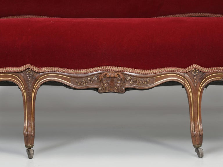 Antique Italian Louis XV Style Settee Covered in Mohair For Sale 6