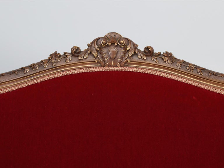 Hand-Carved Antique Italian Louis XV Style Settee Covered in Mohair For Sale