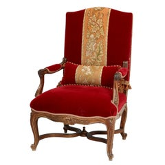 Antique Italian Louis XV Style Throne Chair or Armchair with Gold Accents