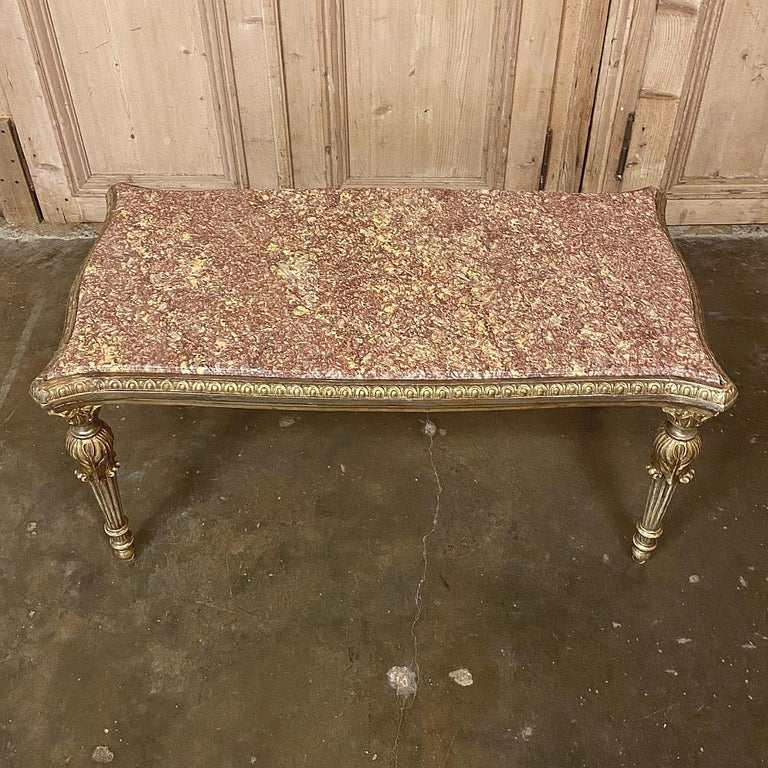 Antique Italian Louis XVI Giltwood Marble-Top Coffee Table For Sale 5