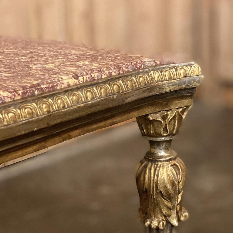 Antique Italian Louis XVI Giltwood Marble-Top Coffee Table For Sale 8