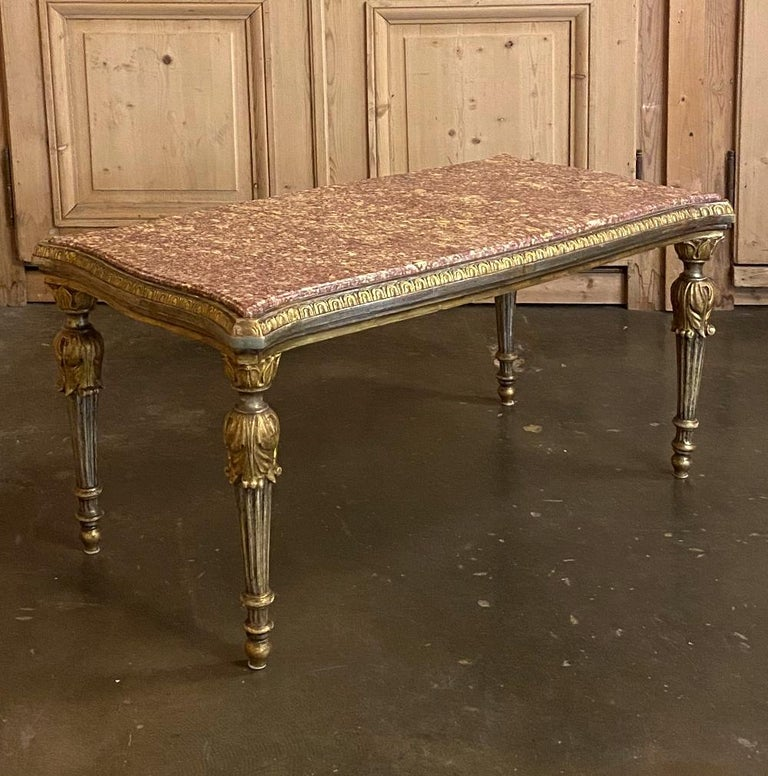 Hand-Carved Antique Italian Louis XVI Giltwood Marble-Top Coffee Table For Sale