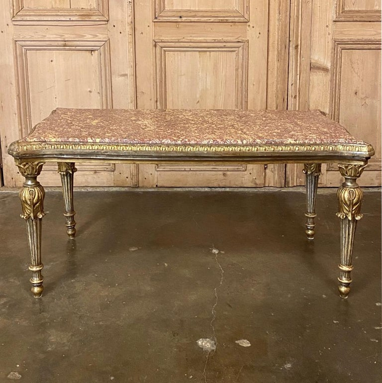 Mid-20th Century Antique Italian Louis XVI Giltwood Marble-Top Coffee Table For Sale