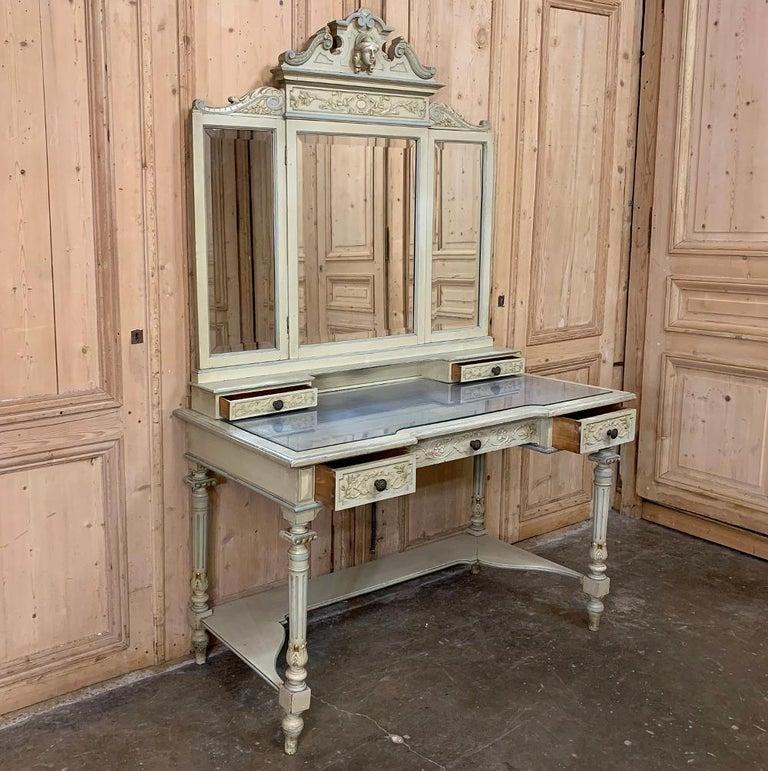 Beveled Antique Italian Louis XVI Painted Vanity For Sale
