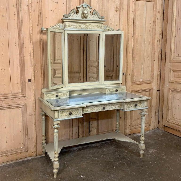 20th Century Antique Italian Louis XVI Painted Vanity For Sale