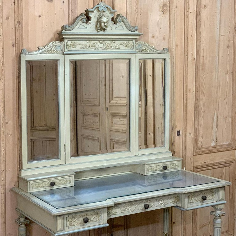 Glass Antique Italian Louis XVI Painted Vanity For Sale