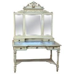Antique Italian Louis XVI Painted Vanity