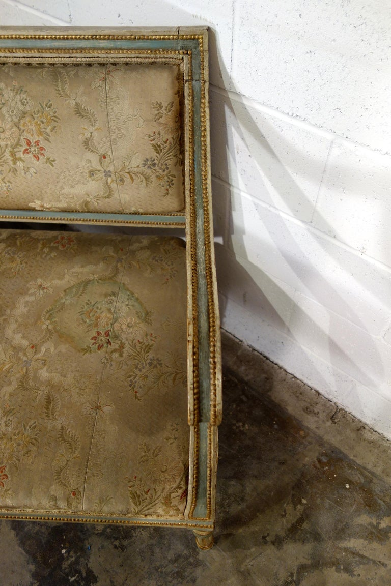 19th Century Italian Louis XVI Style Painted and Gold Gilt Bench Settee Ca 1820 For Sale 13