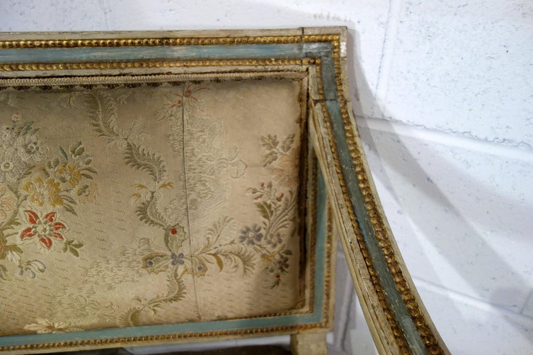 19th Century Italian Louis XVI Style Painted and Gold Gilt Bench Settee Ca 1820 For Sale 14