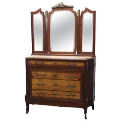 Antique Italian Mahogany, Burl, Ormolu and Marble-Top Dresser by Carlo Ponzini