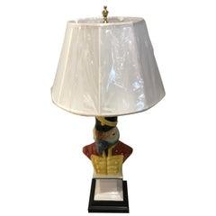 Antique Italian Majolica Parrot Lamp