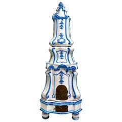 Antique Italian Majolica Terracotta Blue and White Parlor Stove