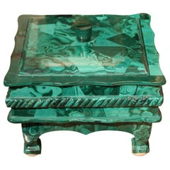 Antique Italian Malachite Hard Stone Lidded Trinket Box or Jewelry Casket