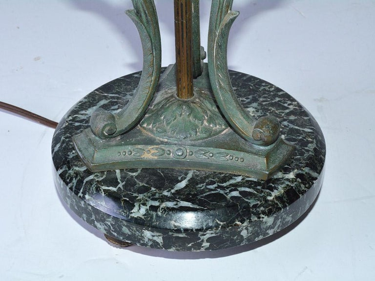 20th Century Antique Italian Marble and Bronze-Mounted Table Lamp For Sale