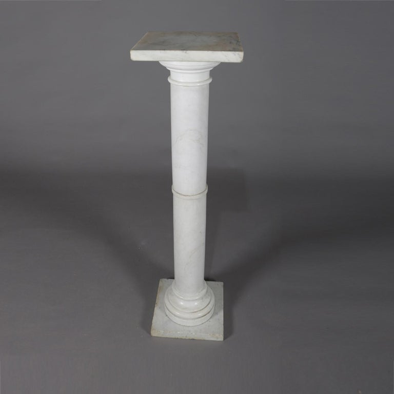 Classical Greek Antique Italian Marble Corinthian Column Sculpture Display Pedestal, circa 1890 For Sale