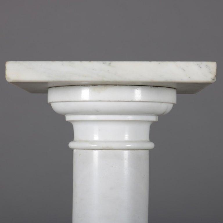Antique Italian Marble Corinthian Column Sculpture Display Pedestal, circa 1890 For Sale 1