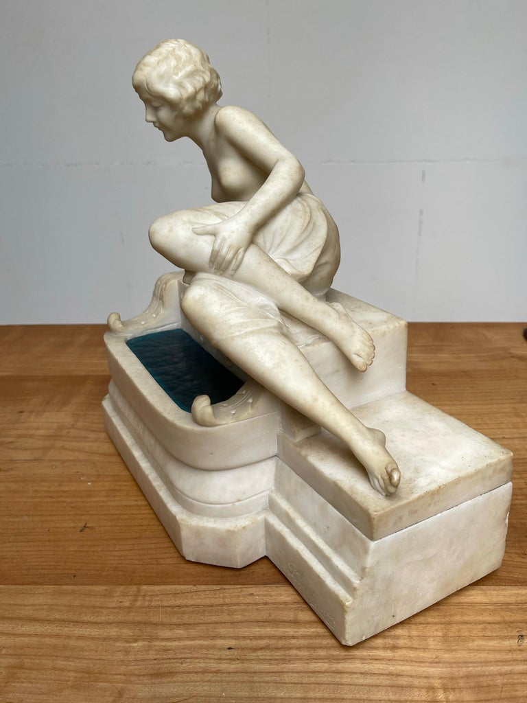 Antique Italian Marble Figure of a Female Nude by Emilio P. Fiaschi Table Lamp  For Sale 6