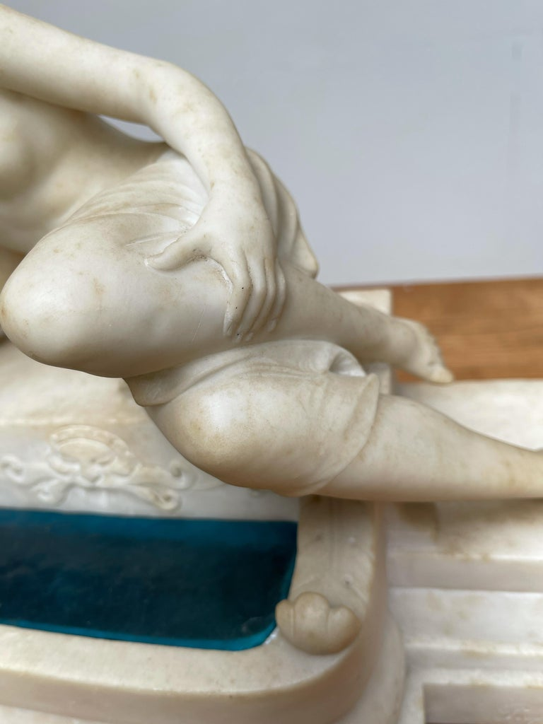 Antique Italian Marble Figure of a Female Nude by Emilio P. Fiaschi Table Lamp  For Sale 7