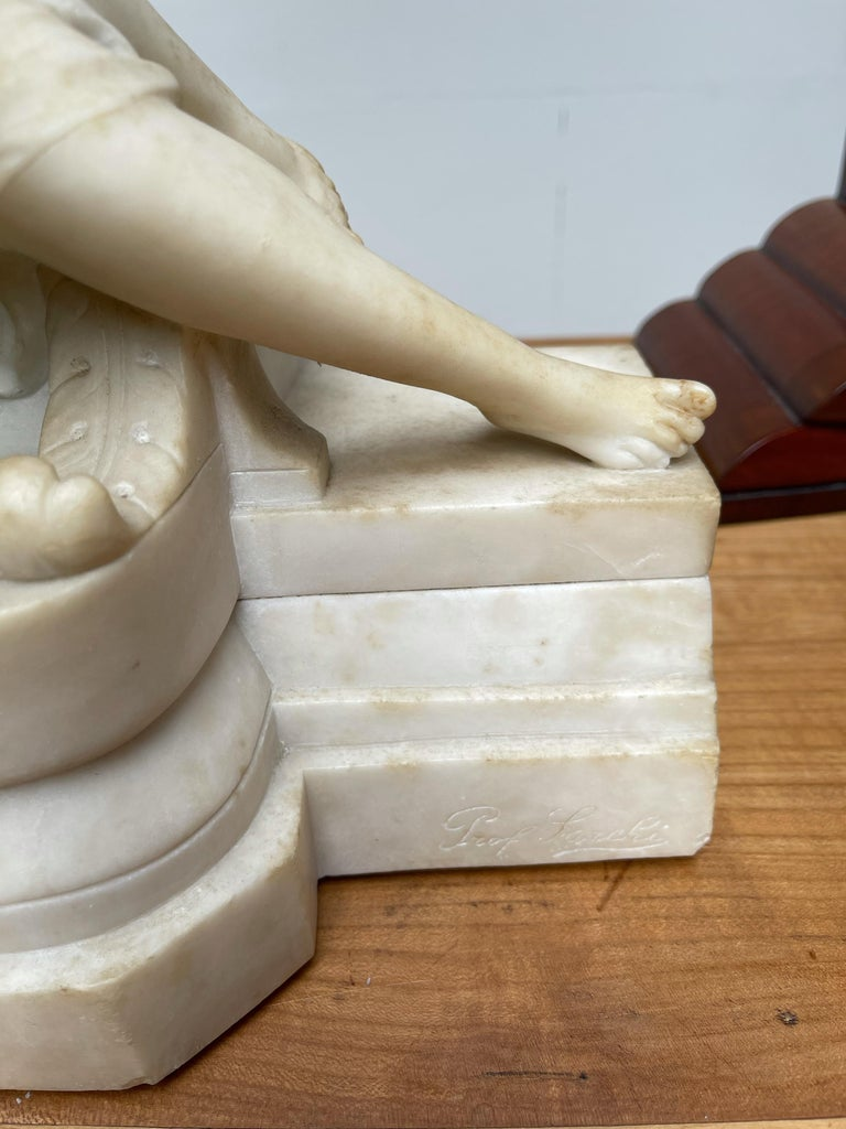 Antique Italian Marble Figure of a Female Nude by Emilio P. Fiaschi Table Lamp  For Sale 8