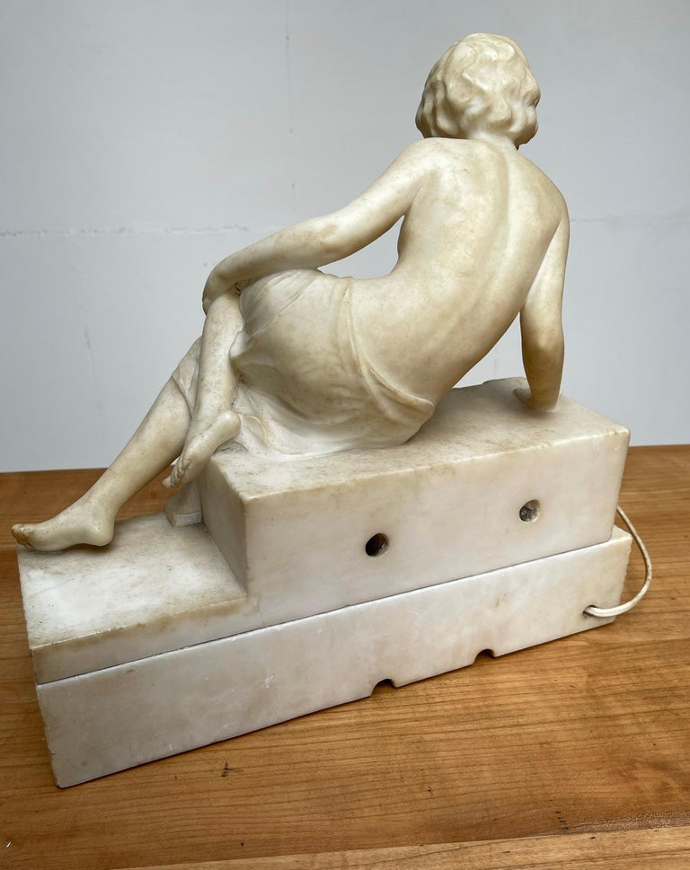 Antique Italian Marble Figure of a Female Nude by Emilio P. Fiaschi Table Lamp  For Sale 9