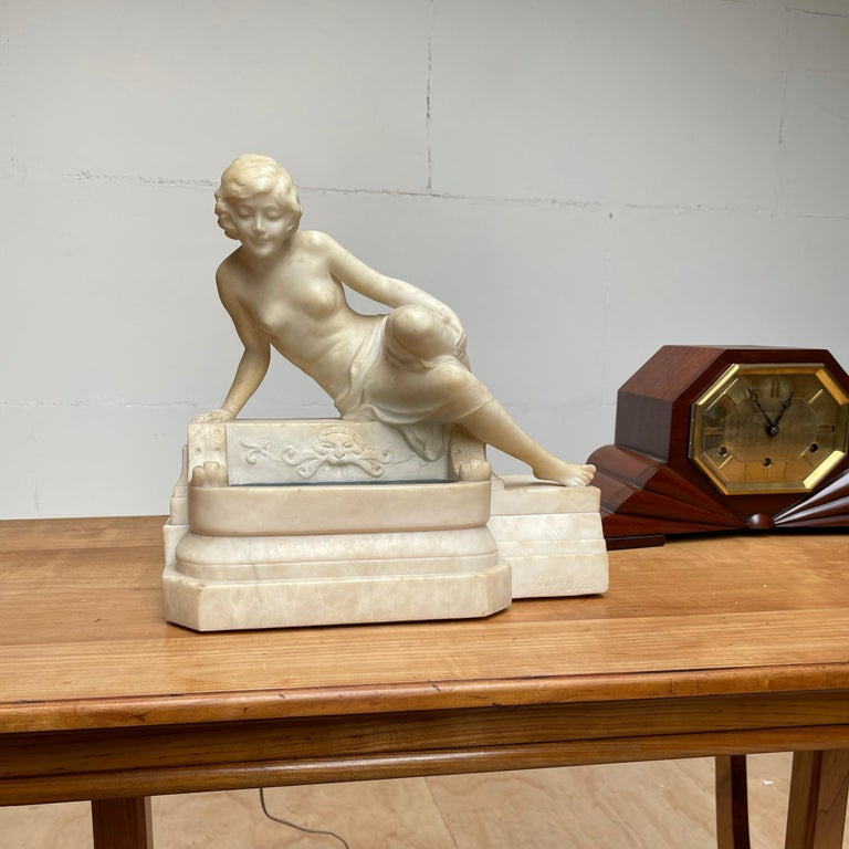 Antique Italian Marble Figure of a Female Nude by Emilio P. Fiaschi Table Lamp  For Sale 10