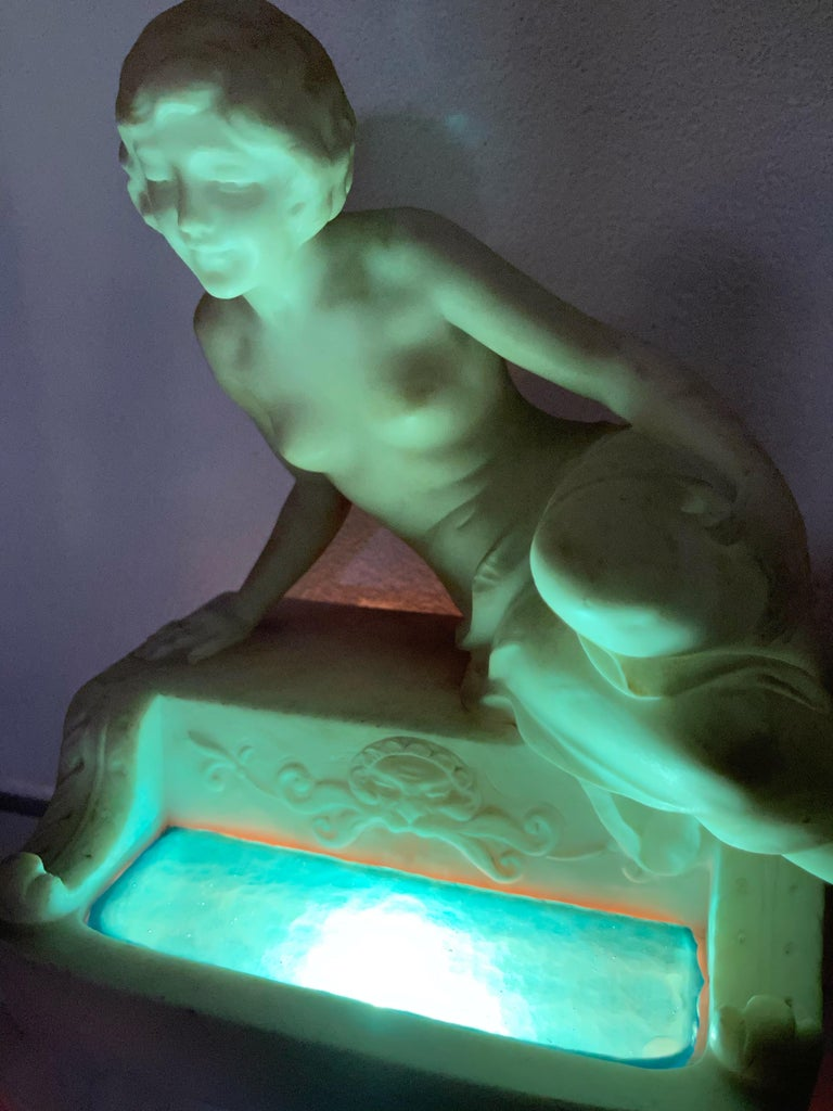 Antique Italian Marble Figure of a Female Nude by Emilio P. Fiaschi Table Lamp  For Sale 12
