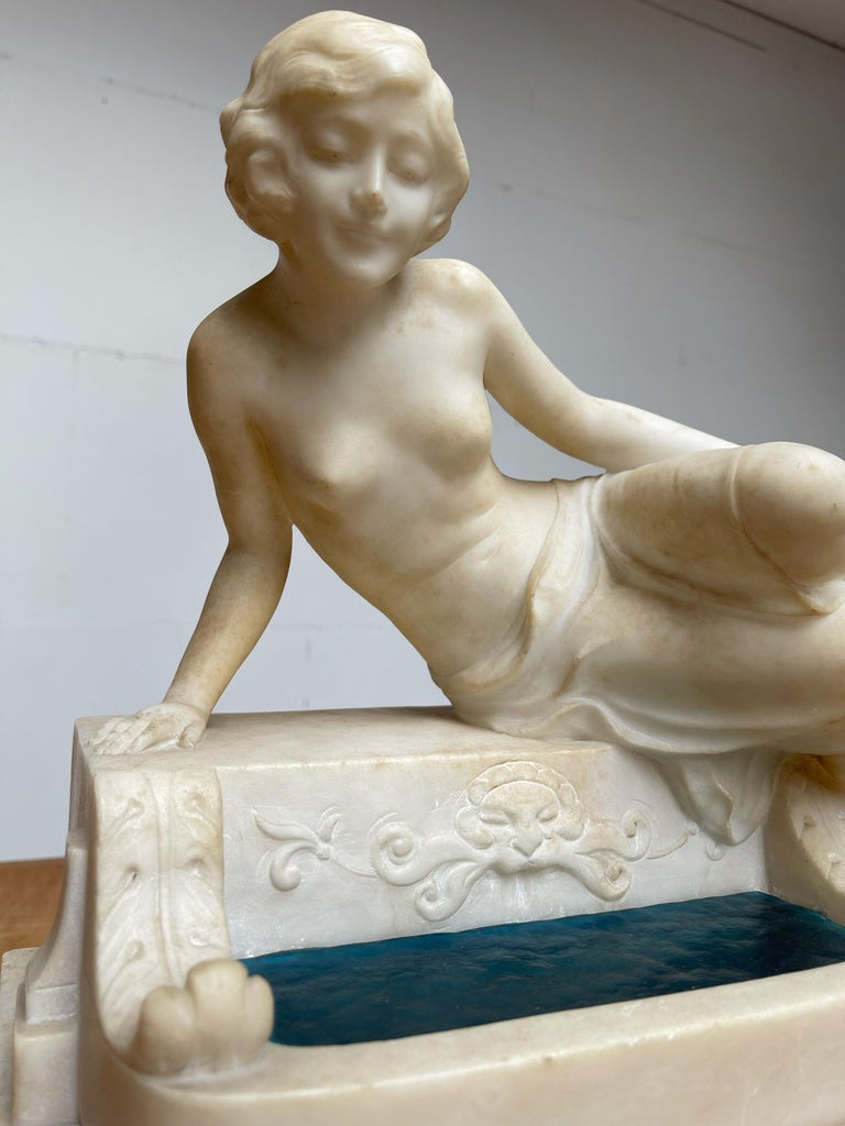 Glass Antique Italian Marble Figure of a Female Nude by Emilio P. Fiaschi Table Lamp  For Sale