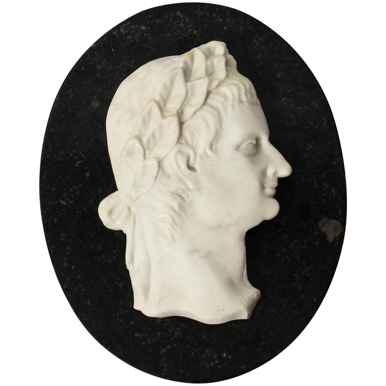 Antique Italian Marble Profile Plaque of Roman Emperor Claudius, 19th Century