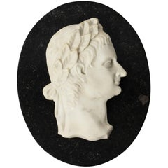 Antique Italian Marble Profile Plaque of Roman Emperor Claudius, 19th Century